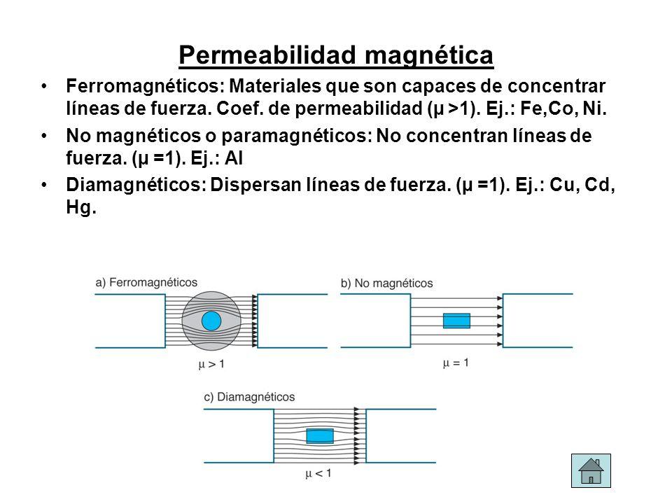 Permeabilidad magnética Ferromagnéticos: Materiales que son capaces de concentrar líneas de fuerza. Coef. de permeabilidad (µ >1). Ej.: Fe,Co, Ni. No