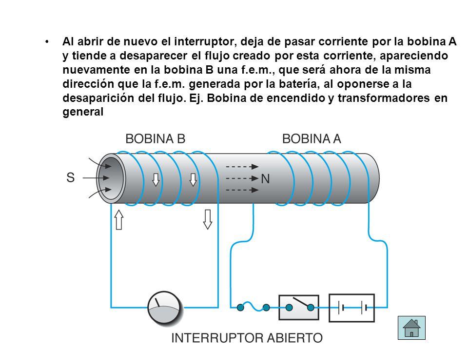 Al abrir de nuevo el interruptor, deja de pasar corriente por la bobina A y tiende a desaparecer el flujo creado por esta corriente, apareciendo nueva