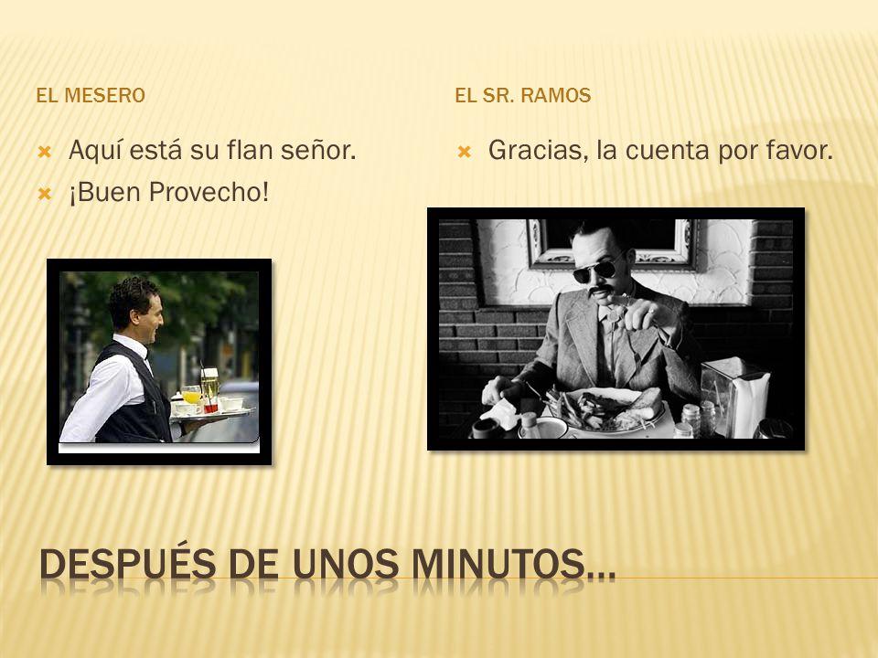 EL MESEROEL SR. RAMOS Aquí está su flan señor. ¡Buen Provecho! Gracias, la cuenta por favor.