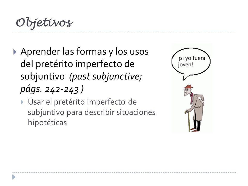 Objetivos Aprender las formas y los usos del pretérito imperfecto de subjuntivo (past subjunctive; págs. 242-243 ) Usar el pretérito imperfecto de sub