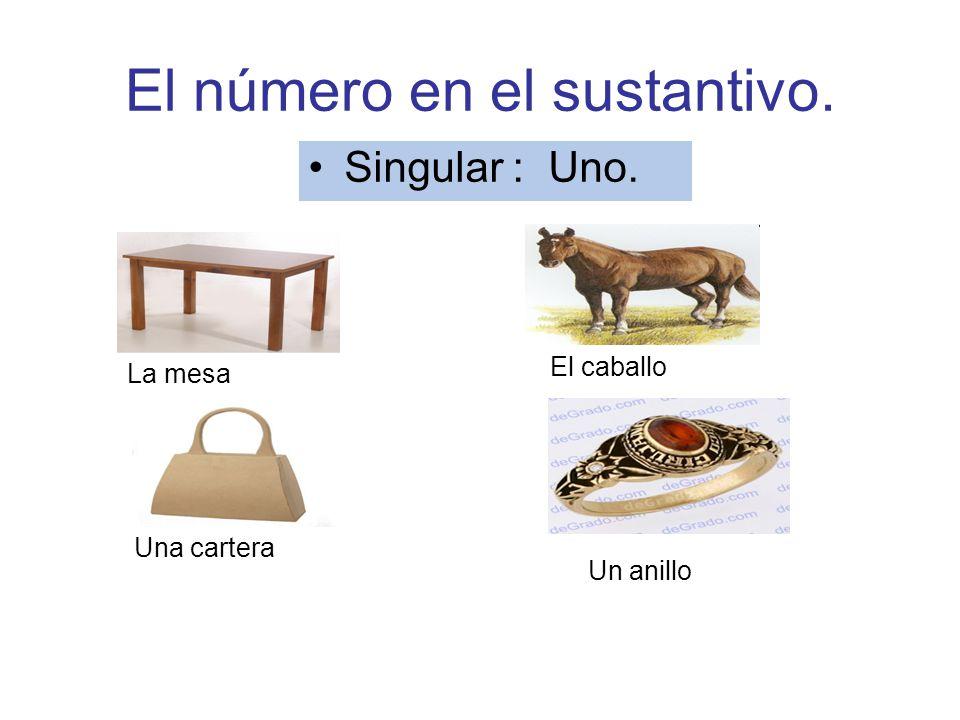 El número en el sustantivo. Singular : Uno. La mesa El caballo Un anillo Una cartera