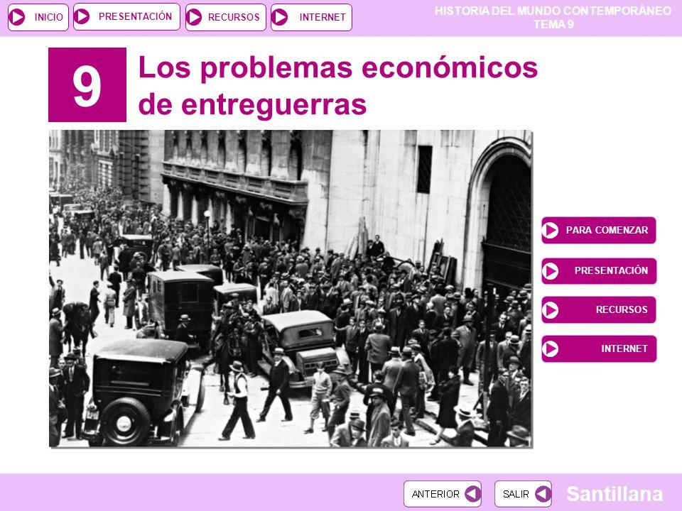 HISTORIA DEL MUNDO CONTEMPORÁNEO TEMA 9 RECURSOSINTERNETPRESENTACIÓN Santillana INICIO 9 Los problemas económicos de entreguerras PARA COMENZAR PRESEN