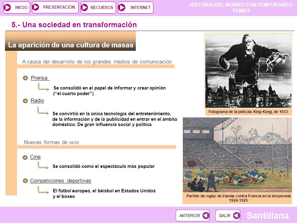 HISTORIA DEL MUNDO CONTEMPORÁNEO TEMA 9 RECURSOSINTERNETPRESENTACIÓN Santillana INICIO La aparición de una cultura de masas 5.- Una sociedad en transf