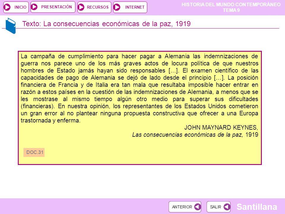 HISTORIA DEL MUNDO CONTEMPORÁNEO TEMA 9 RECURSOSINTERNETPRESENTACIÓN Santillana INICIO Texto: La consecuencias económicas de la paz, 1919 La campaña d