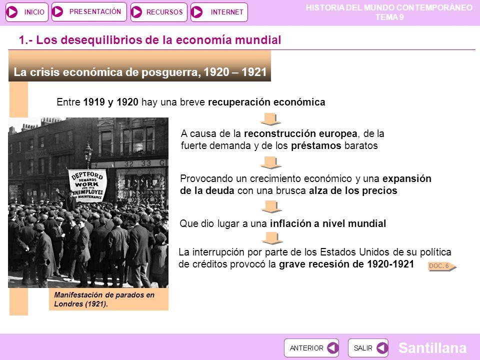 HISTORIA DEL MUNDO CONTEMPORÁNEO TEMA 9 RECURSOSINTERNETPRESENTACIÓN Santillana INICIO 1.- Los desequilibrios de la economía mundial La crisis económi