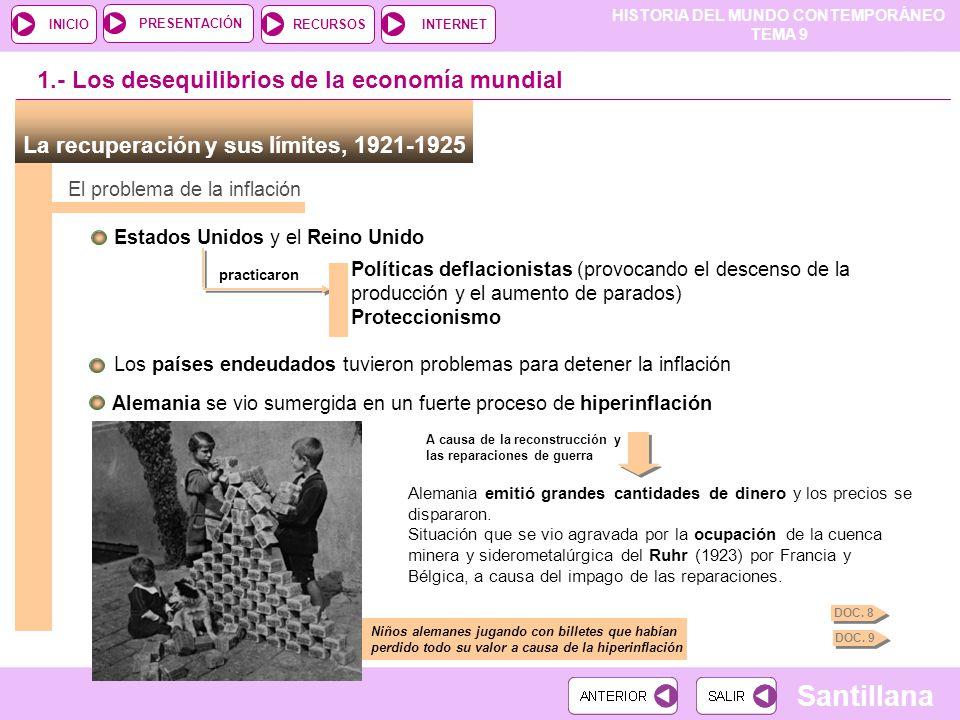 HISTORIA DEL MUNDO CONTEMPORÁNEO TEMA 9 RECURSOSINTERNETPRESENTACIÓN Santillana INICIO El crack de 1929 Ampliación y fotos Internet ¿Cómo se produjo el crack de 1929.