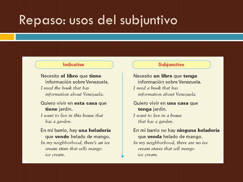 Repaso: usos del subjuntivo