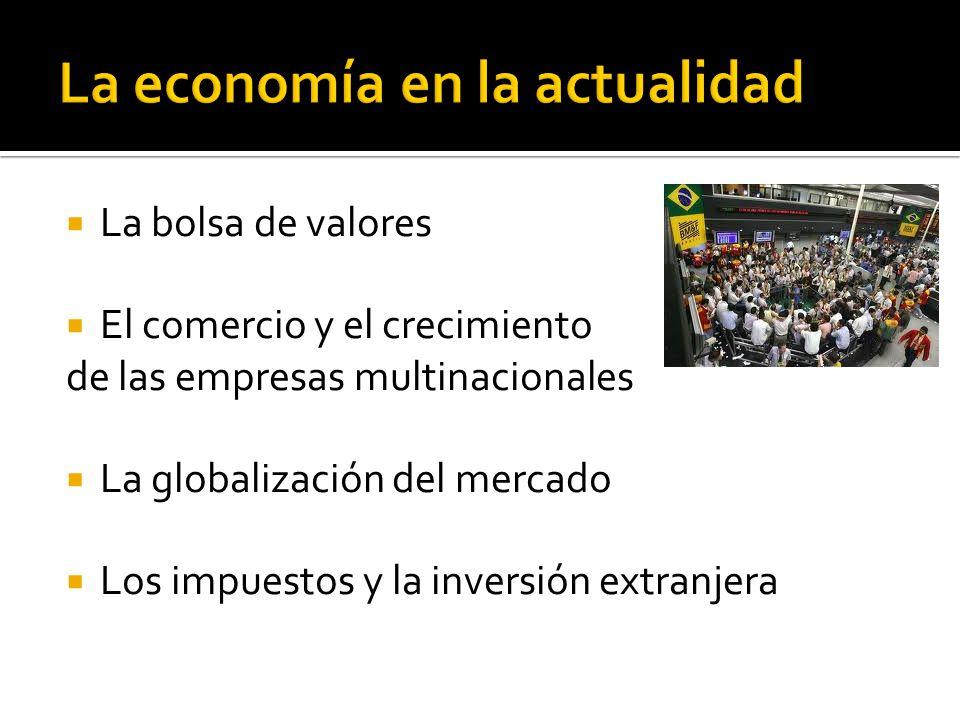 La bolsa de valores El comercio y el crecimiento de las empresas multinacionales La globalización del mercado Los impuestos y la inversión extranjera
