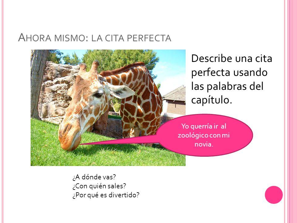 A HORA MISMO : LA CITA PERFECTA Describe una cita perfecta usando las palabras del capítulo.