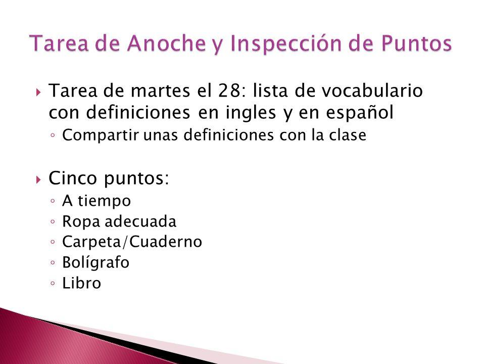 Tarea de martes el 28: lista de vocabulario con definiciones en ingles y en español Compartir unas definiciones con la clase Cinco puntos: A tiempo Ro