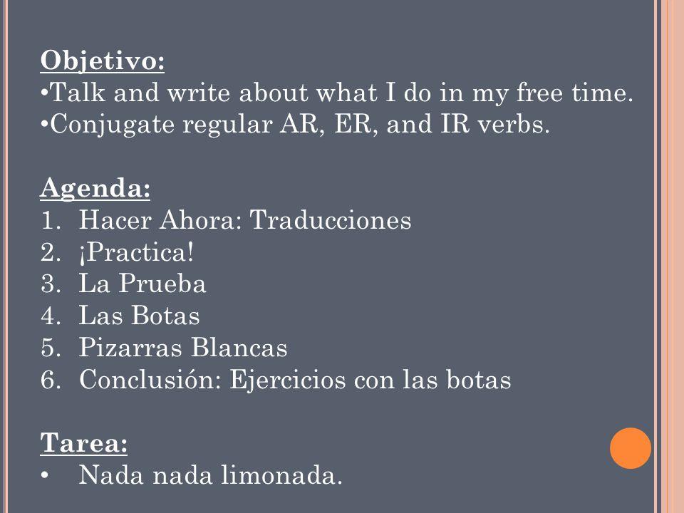 H ACER AHORA.Traduzca a español. 1. Juan reads magazines every day.