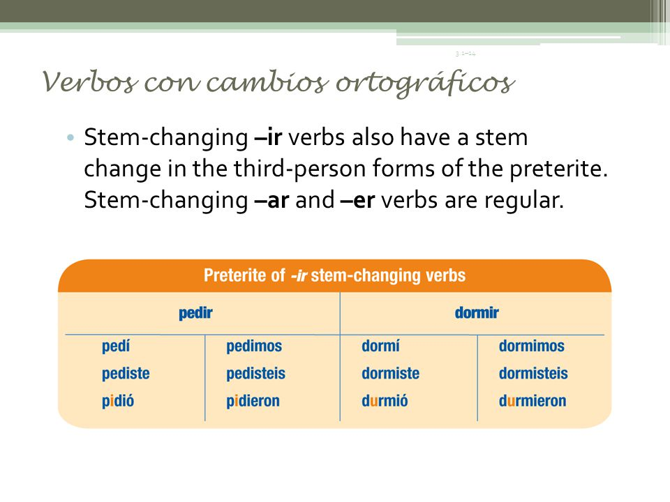 Verbos con cambios ortográficos For verbs like caer, leer, and oír, the él,/ella/usted form uses the ending yó (rather than ió) and the third person plural uses the ending yeron (rather than ieron).