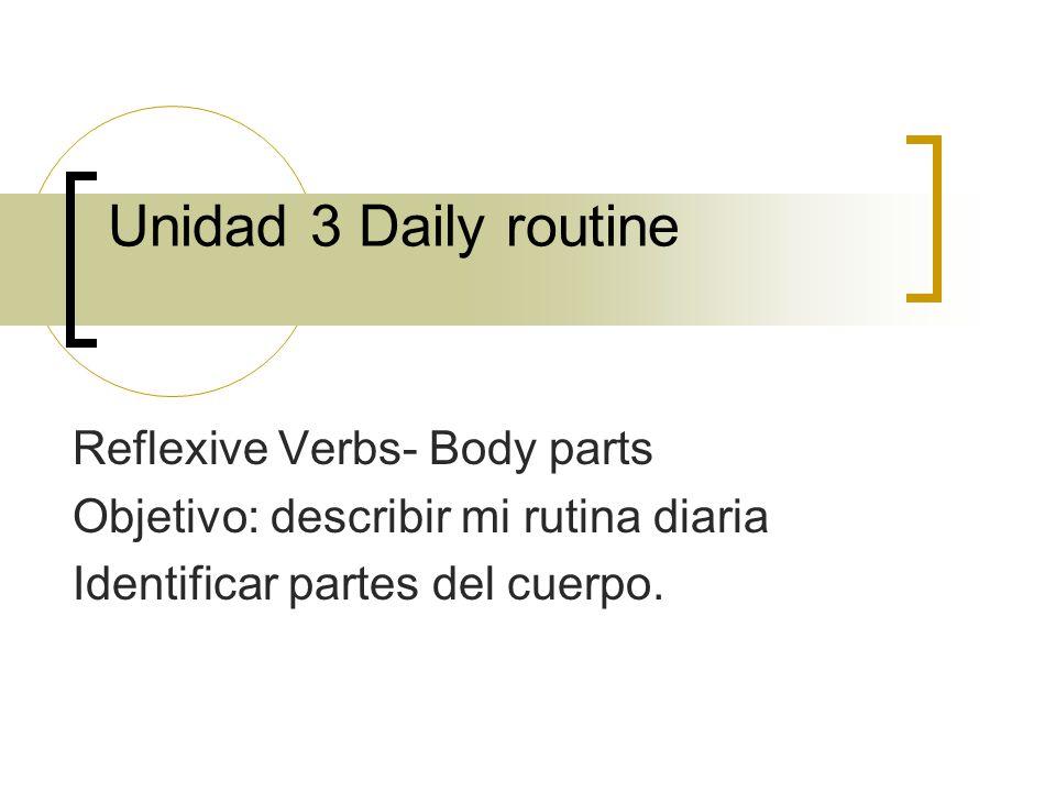 Reflexive Verbs- Body parts Objetivo: describir mi rutina diaria Identificar partes del cuerpo.