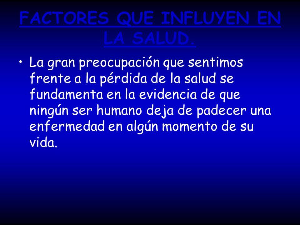 FACTORES QUE INFLUYEN EN LA SALUD.