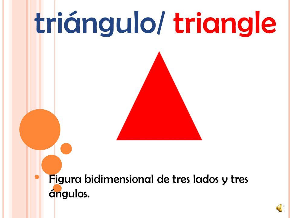polígono/ polygon Una figura plana (bidimensional) con lados rectos. Ejemplos: triángulos, rectángulos y pentágonos. (Nota: un círculo no es un polígo