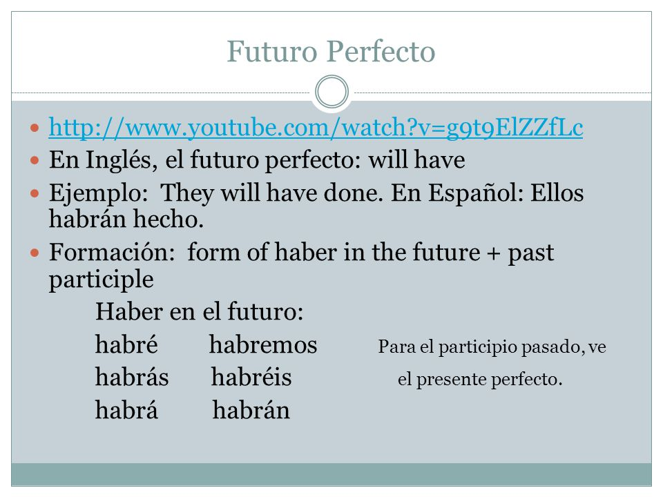 Futuro Perfecto http://www.youtube.com/watch?v=g9t9ElZZfLc En Inglés, el futuro perfecto: will have Ejemplo: They will have done.