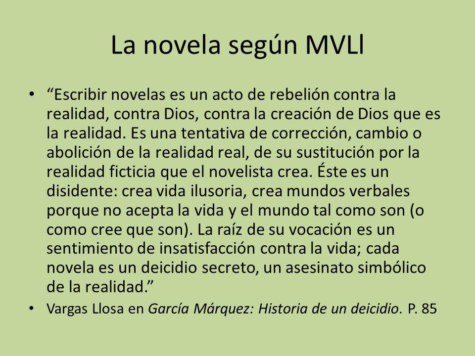 La novela según MVLl Escribir novelas es un acto de rebelión contra la realidad, contra Dios, contra la creación de Dios que es la realidad. Es una te