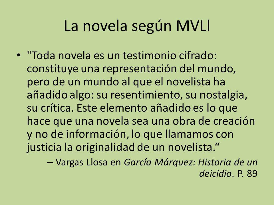 La novela según MVLl Toda novela es un testimonio cifrado: constituye una representación del mundo, pero de un mundo al que el novelista ha añadido algo: su resentimiento, su nostalgia, su crítica.