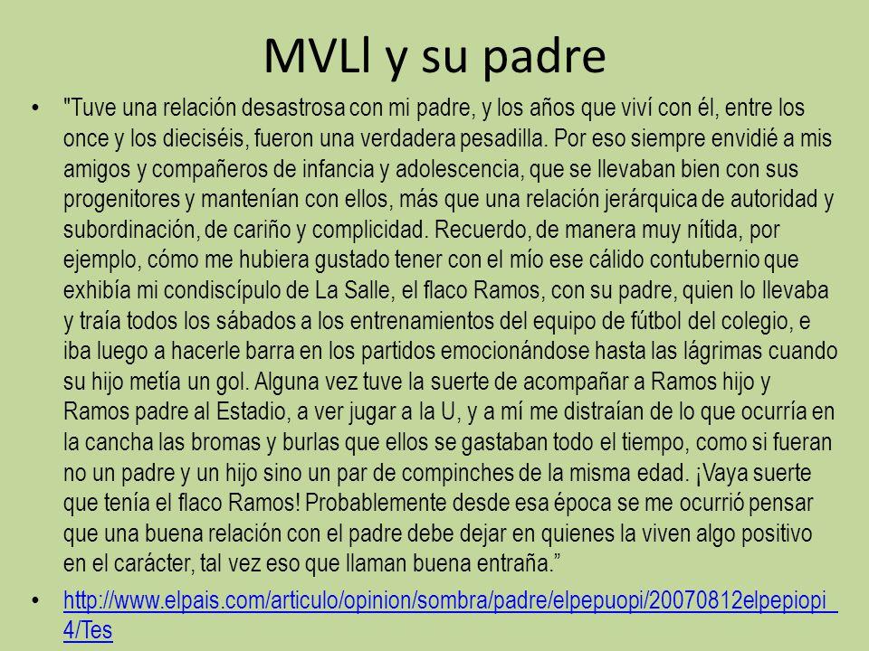 MVLl y su padre Tuve una relación desastrosa con mi padre, y los años que viví con él, entre los once y los dieciséis, fueron una verdadera pesadilla.
