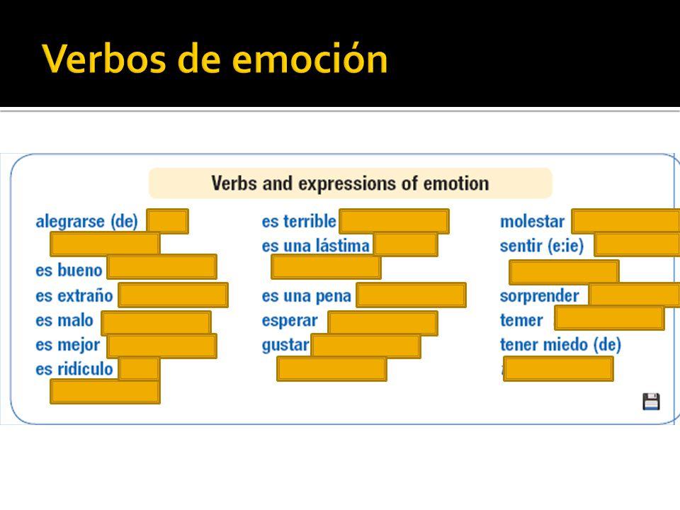 Práctica del subjuntivo en el internet http://www.colby.edu/~bknelson/SLC/subj4_i nfluence.php http://www.colby.edu/~bknelson/SLC/subj4_i nfluence.php http://www.colby.edu/~bknelson/SLC/subj6_ emotion.php http://www.colby.edu/~bknelson/SLC/subj6_ emotion.php