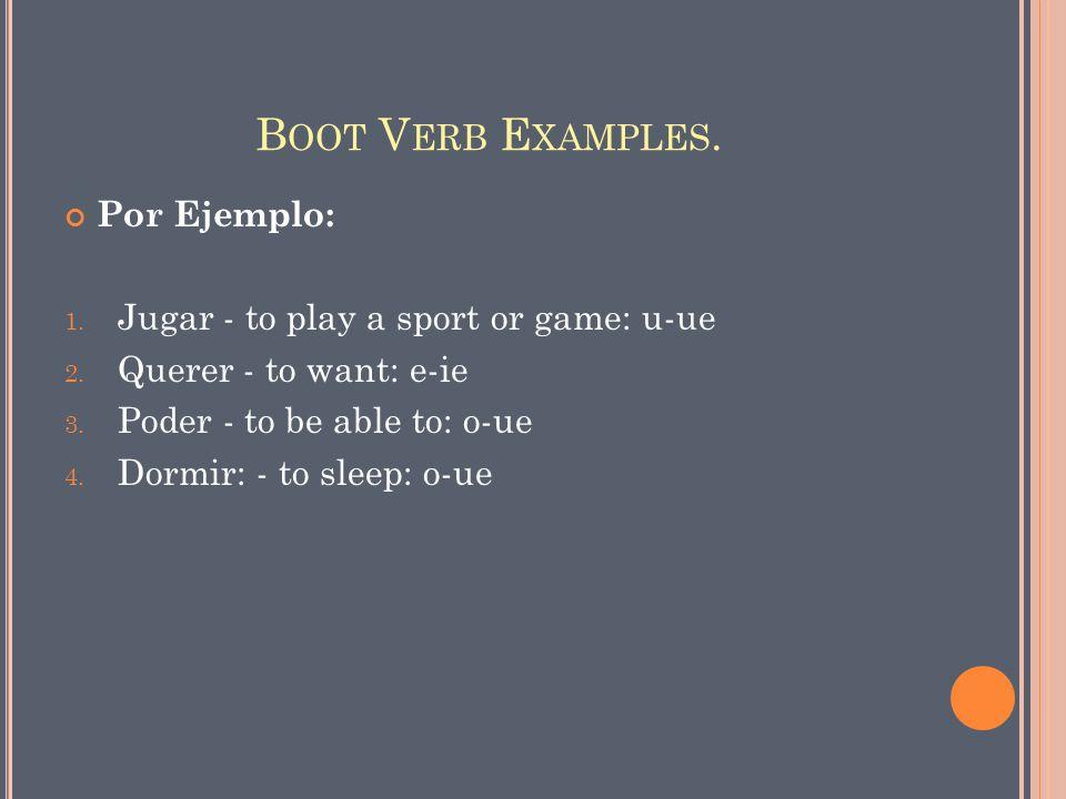 B OOT V ERB E XAMPLES. Por Ejemplo: 1. Jugar - to play a sport or game: u-ue 2.