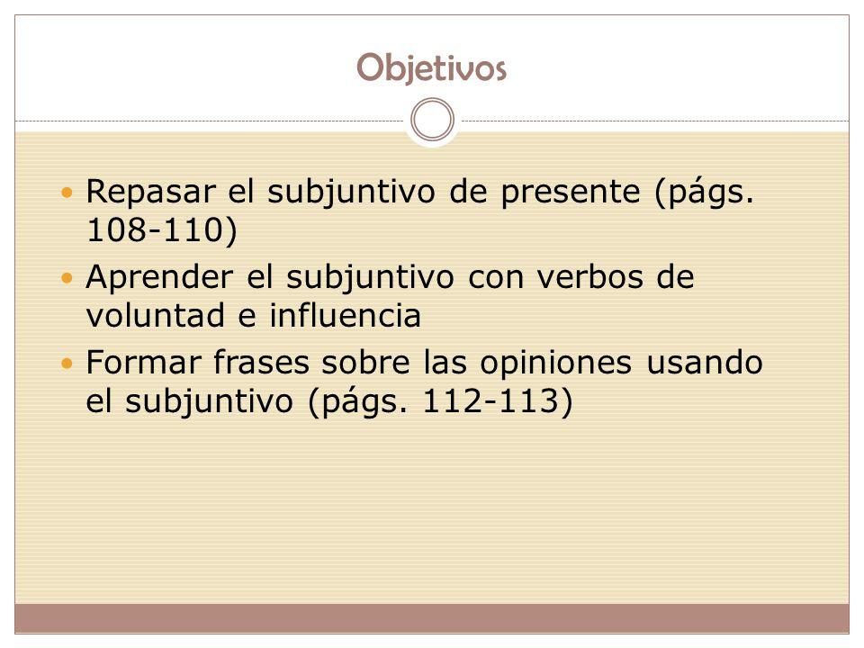 Objetivos Repasar el subjuntivo de presente (págs.