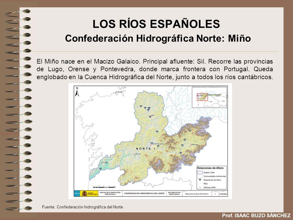 LOS RÍOS ESPAÑOLES Confederación Hidrográfica Norte: Miño El Miño nace en el Macizo Galaico. Principal afluente: Sil. Recorre las provincias de Lugo,