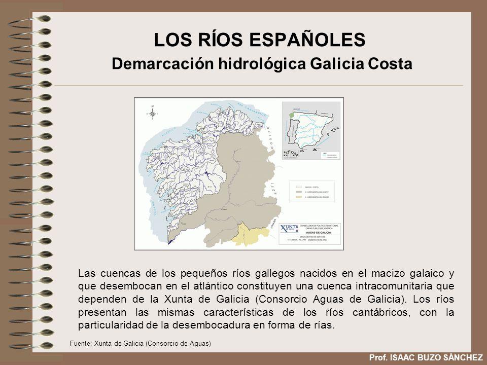 LOS RÍOS ESPAÑOLES Demarcación hidrológica Galicia Costa Las cuencas de los pequeños ríos gallegos nacidos en el macizo galaico y que desembocan en el