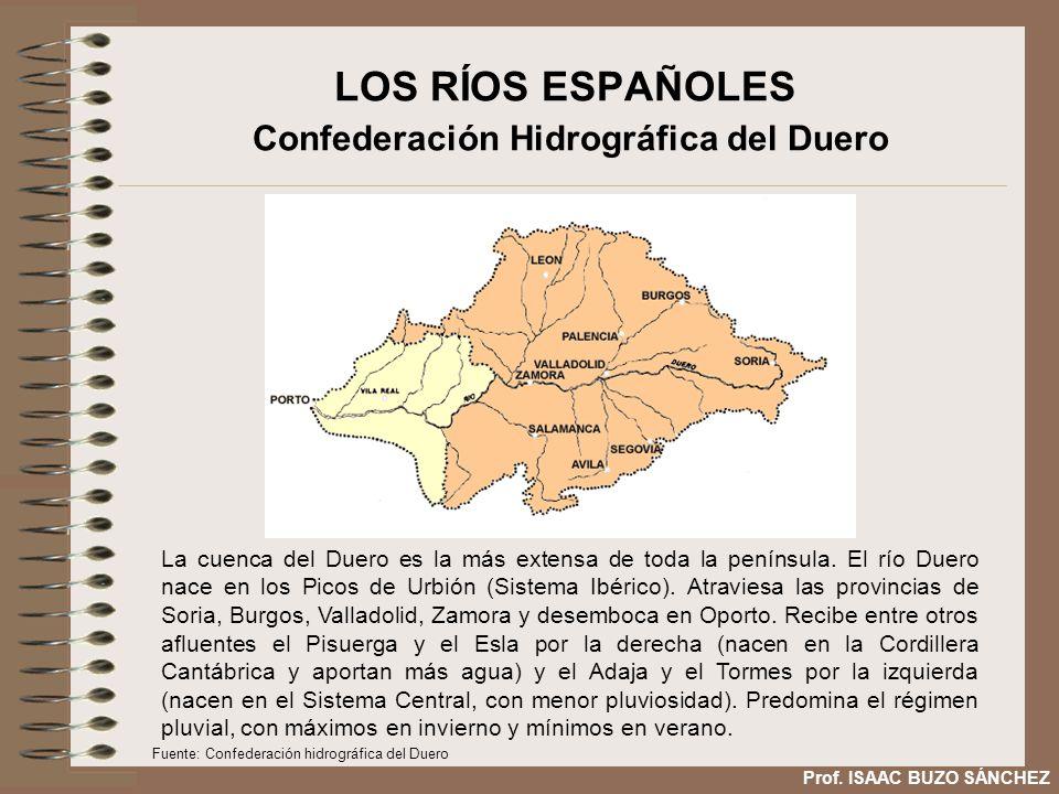 LOS RÍOS ESPAÑOLES Confederación Hidrográfica del Duero La cuenca del Duero es la más extensa de toda la península. El río Duero nace en los Picos de