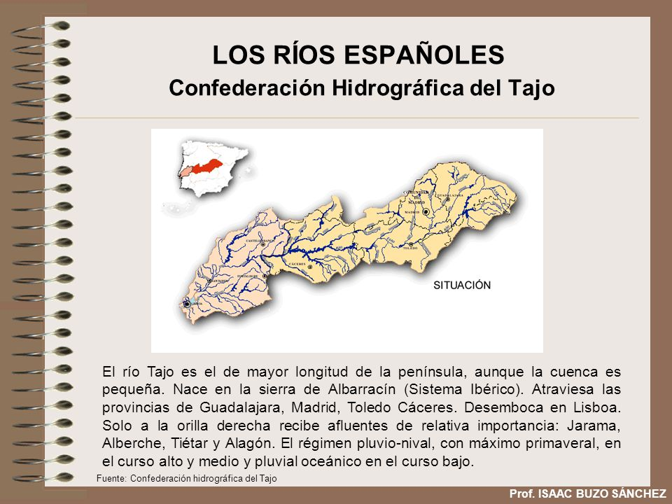 LOS RÍOS ESPAÑOLES Confederación Hidrográfica del Tajo El río Tajo es el de mayor longitud de la península, aunque la cuenca es pequeña. Nace en la si