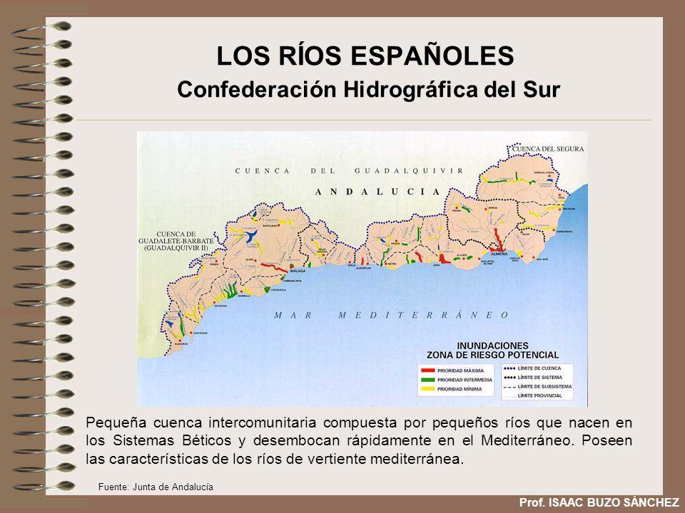 LOS RÍOS ESPAÑOLES Confederación Hidrográfica del Sur Pequeña cuenca intercomunitaria compuesta por pequeños ríos que nacen en los Sistemas Béticos y desembocan rápidamente en el Mediterráneo.