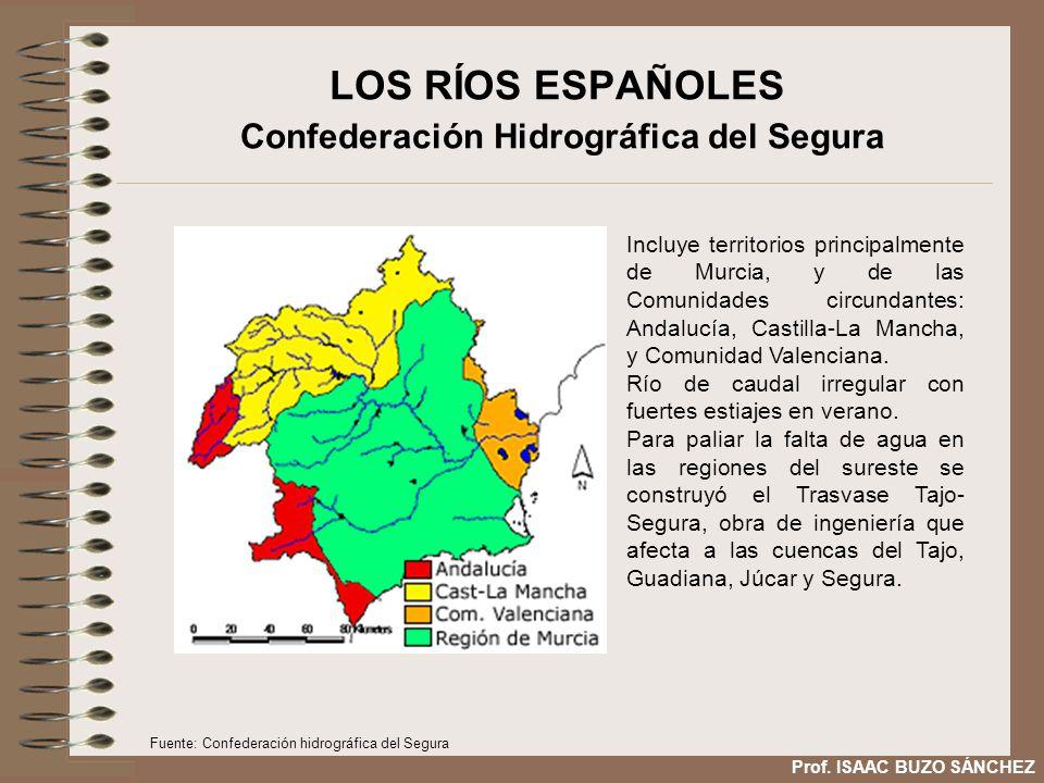 LOS RÍOS ESPAÑOLES Confederación Hidrográfica del Segura Incluye territorios principalmente de Murcia, y de las Comunidades circundantes: Andalucía, Castilla-La Mancha, y Comunidad Valenciana.