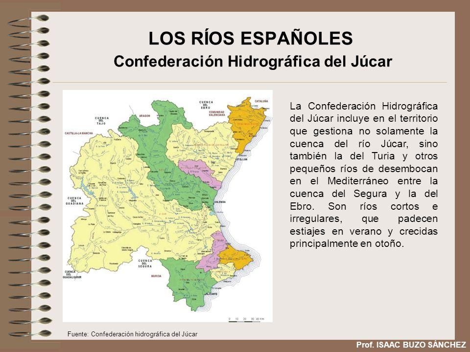LOS RÍOS ESPAÑOLES Confederación Hidrográfica del Júcar La Confederación Hidrográfica del Júcar incluye en el territorio que gestiona no solamente la cuenca del río Júcar, sino también la del Turia y otros pequeños ríos de desembocan en el Mediterráneo entre la cuenca del Segura y la del Ebro.