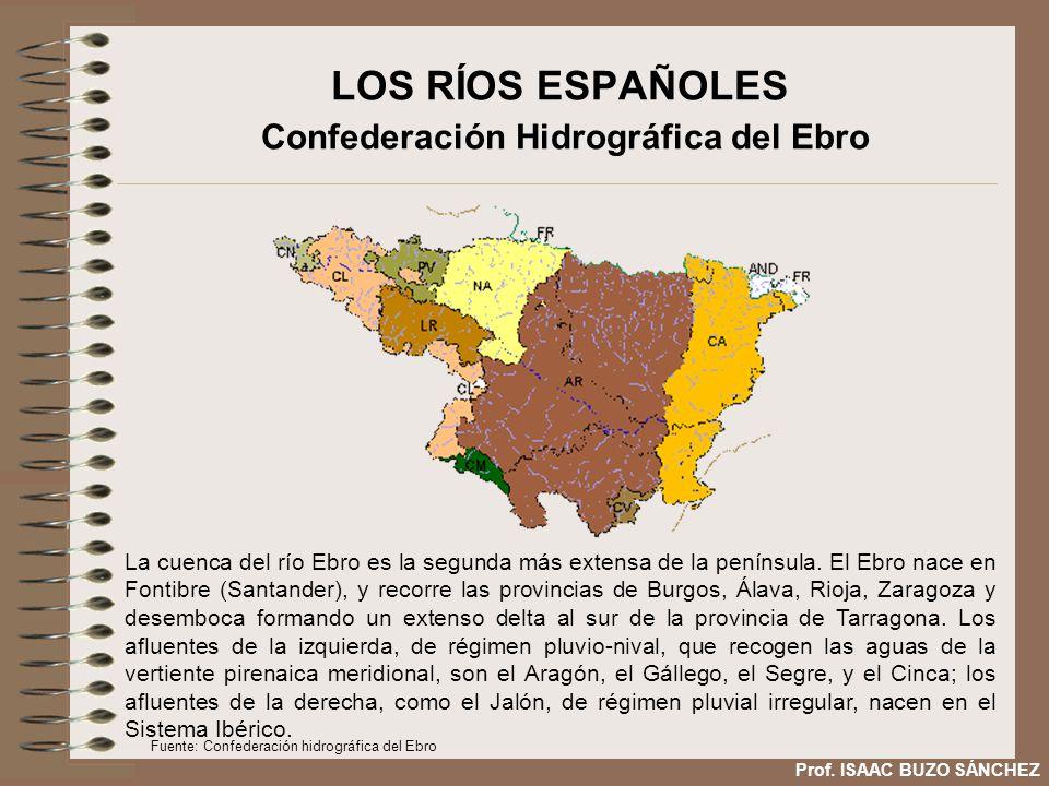 LOS RÍOS ESPAÑOLES Confederación Hidrográfica del Ebro La cuenca del río Ebro es la segunda más extensa de la península. El Ebro nace en Fontibre (San