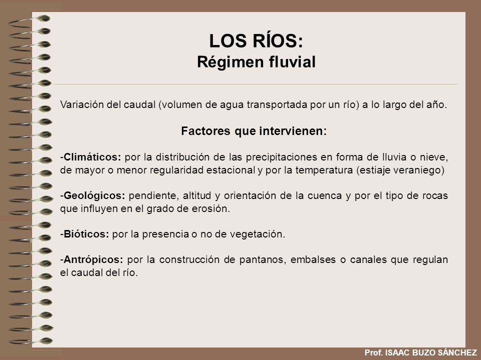 LOS RÍOS: Régimen fluvial Variación del caudal (volumen de agua transportada por un río) a lo largo del año. Factores que intervienen: -Climáticos: po