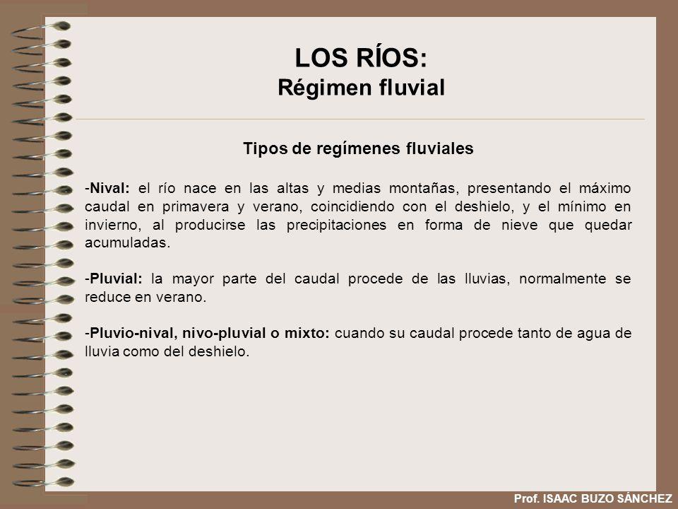 LOS RÍOS: Régimen fluvial Tipos de regímenes fluviales -Nival: el río nace en las altas y medias montañas, presentando el máximo caudal en primavera y