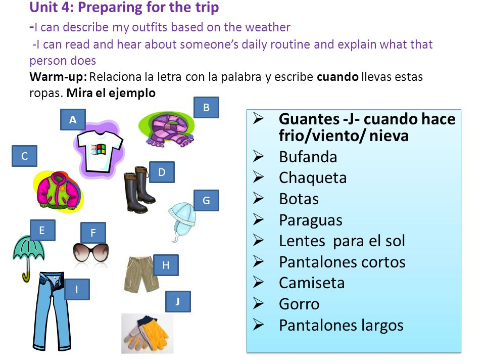 Unit 4: Preparing for the trip - I can describe my outfits based on the weather -I can read and hear about someones daily routine and explain what tha