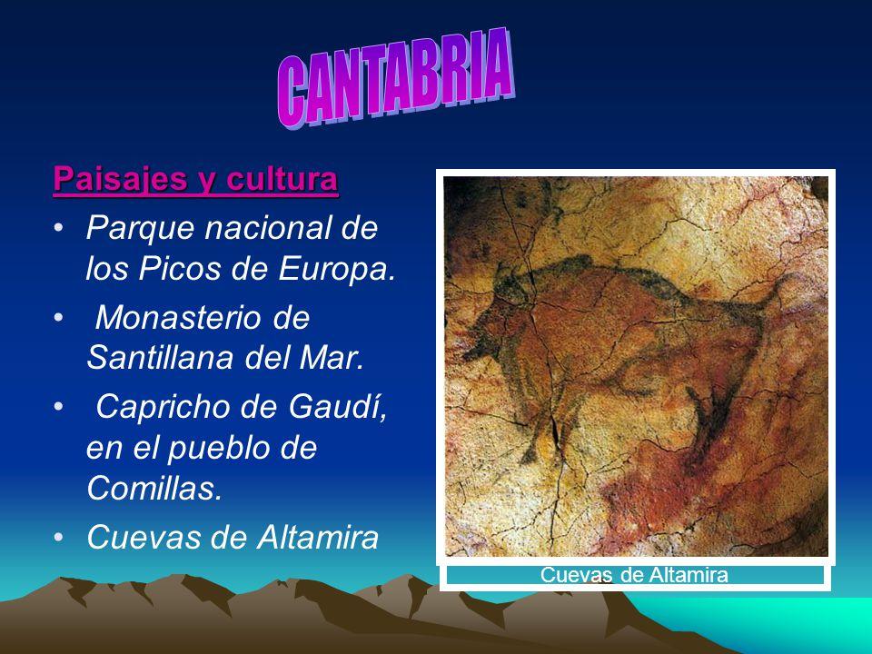 Paisajes y cultura Parque nacional de los Picos de Europa. Monasterio de Santillana del Mar. Capricho de Gaudí, en el pueblo de Comillas. Cuevas de Al