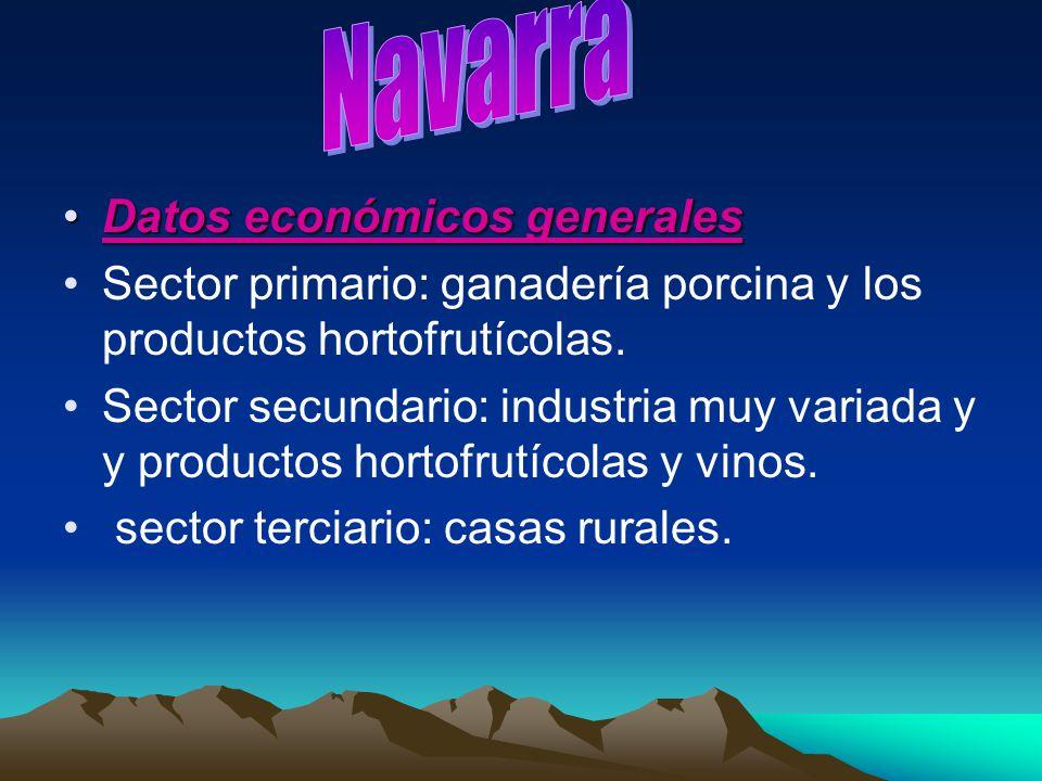 Datos económicos generalesDatos económicos generales Sector primario: ganadería porcina y los productos hortofrutícolas. Sector secundario: industria