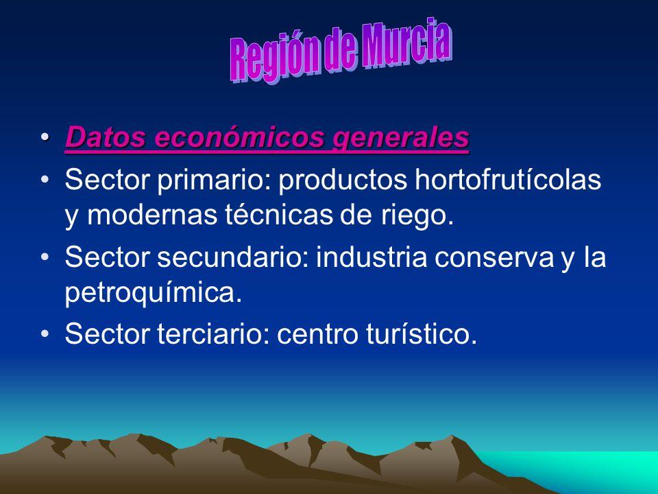 Datos económicos generalesDatos económicos generales Sector primario: productos hortofrutícolas y modernas técnicas de riego. Sector secundario: indus
