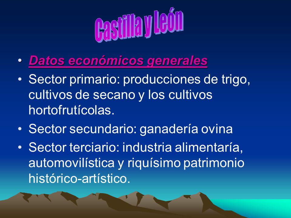 Datos económicos generalesDatos económicos generales Sector primario: producciones de trigo, cultivos de secano y los cultivos hortofrutícolas. Sector