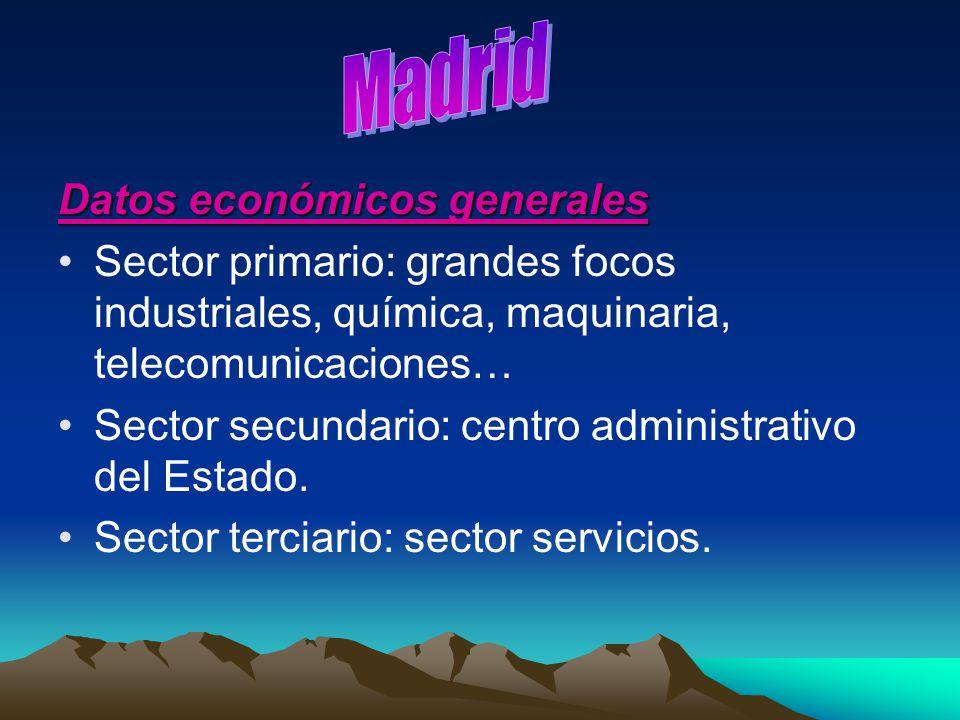 Datos económicos generales Sector primario: grandes focos industriales, química, maquinaria, telecomunicaciones… Sector secundario: centro administrat