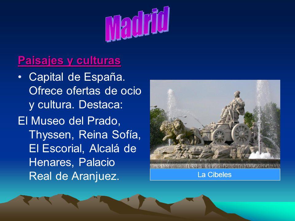 Paisajes y culturas Capital de España. Ofrece ofertas de ocio y cultura. Destaca: El Museo del Prado, Thyssen, Reina Sofía, El Escorial, Alcalá de Hen