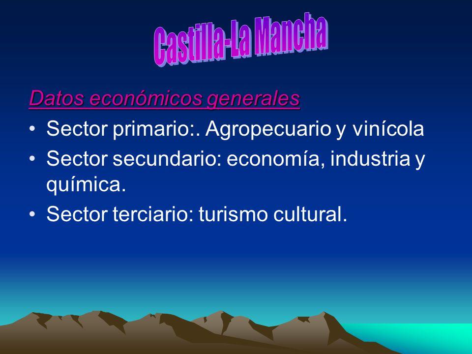 Datos económicos generales Sector primario:. Agropecuario y vinícola Sector secundario: economía, industria y química. Sector terciario: turismo cultu