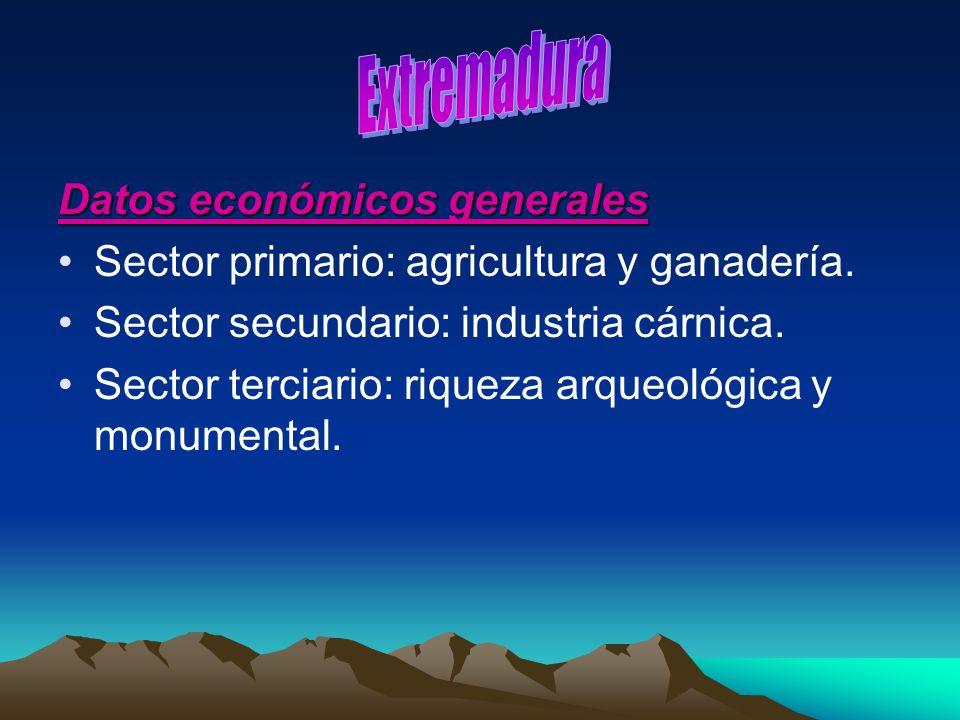 Datos económicos generales Sector primario: agricultura y ganadería. Sector secundario: industria cárnica. Sector terciario: riqueza arqueológica y mo