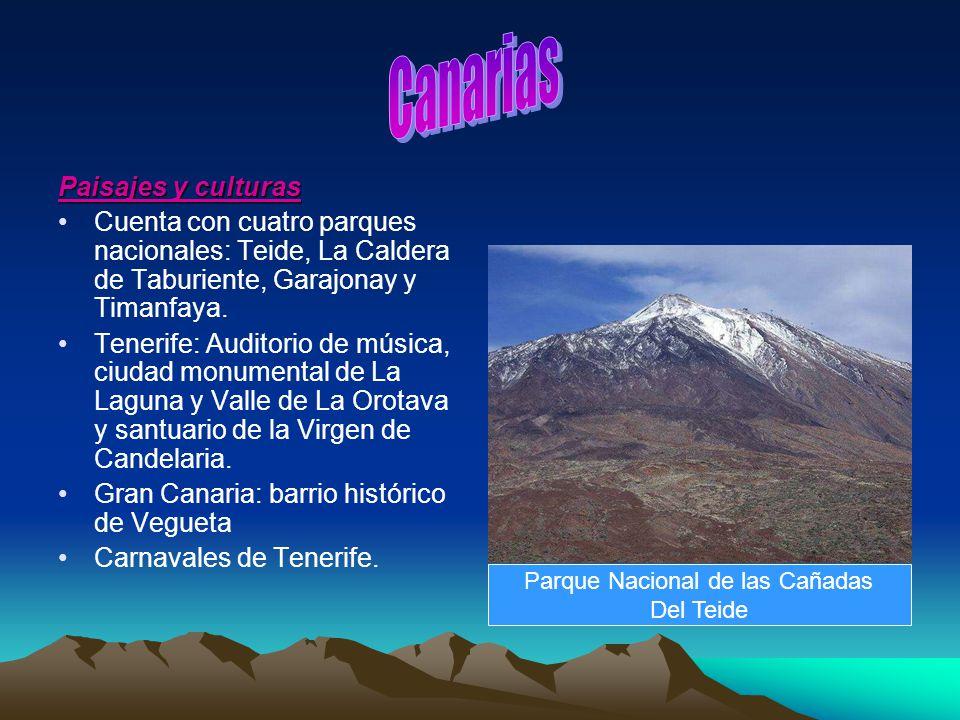 Paisajes y culturas Cuenta con cuatro parques nacionales: Teide, La Caldera de Taburiente, Garajonay y Timanfaya. Tenerife: Auditorio de música, ciuda