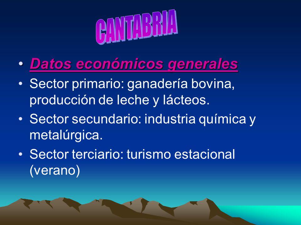 Datos económicos generalesDatos económicos generales Sector primario: ganadería bovina, producción de leche y lácteos. Sector secundario: industria qu