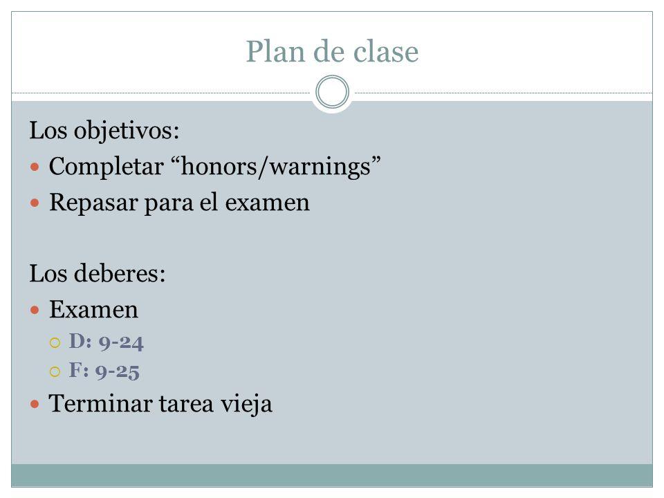 Plan de clase Los objetivos: Completar honors/warnings Repasar para el examen Los deberes: Examen D: 9-24 F: 9-25 Terminar tarea vieja