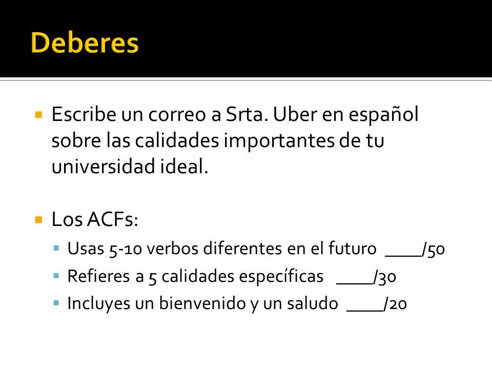 Escribe un correo a Srta. Uber en español sobre las calidades importantes de tu universidad ideal.