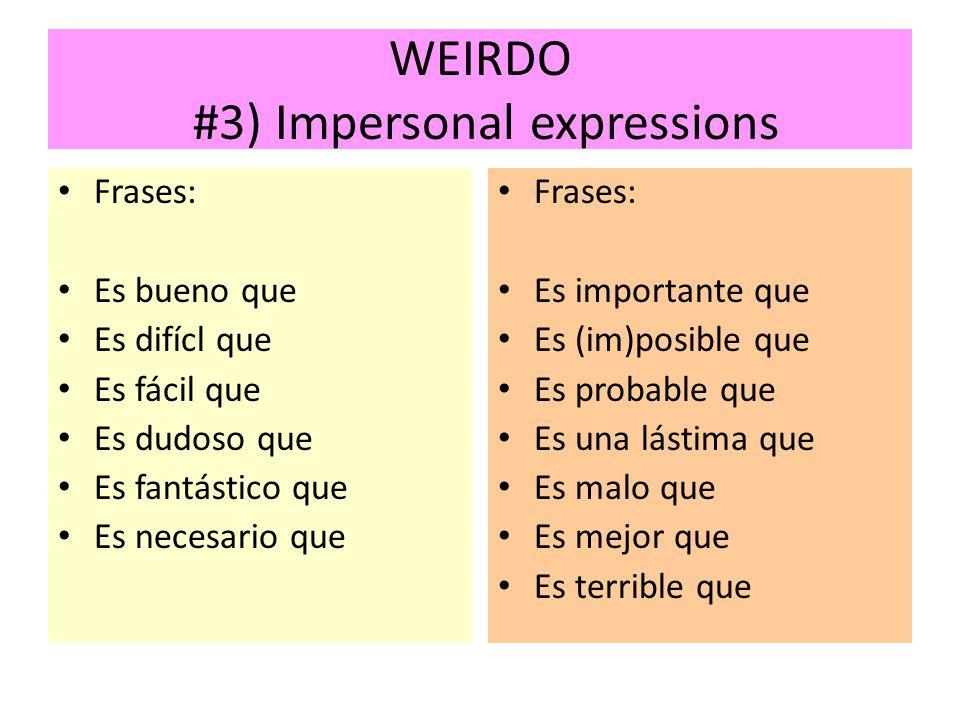 WEIRDO #3) Impersonal expressions Frases: Es bueno que Es difícl que Es fácil que Es dudoso que Es fantástico que Es necesario que Frases: Es importan